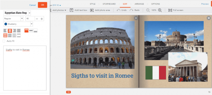 Built-In Spellchecker in Shutterfly