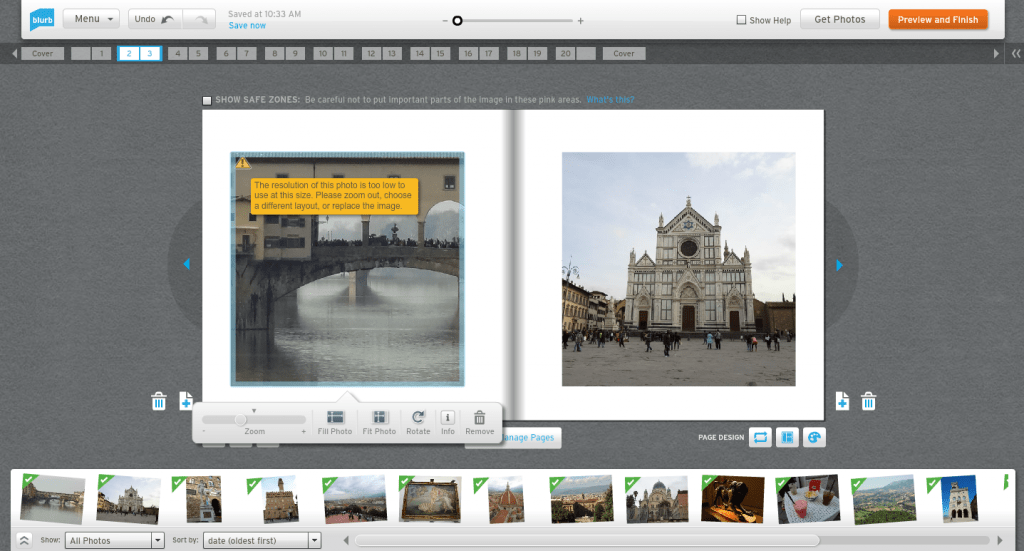 Photo adjustment in the online editor
