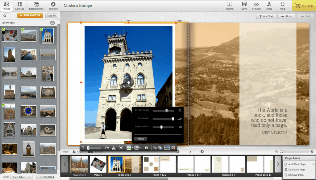 Mixbook Advanced Photo Adjustments