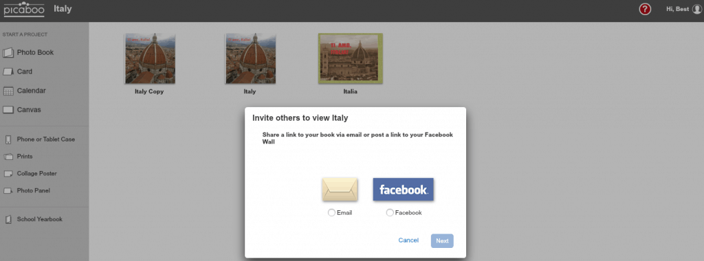 Sharing options in Picaboo