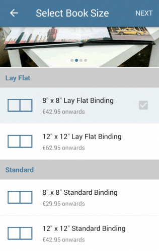 Hardcover Book Sizes in the App