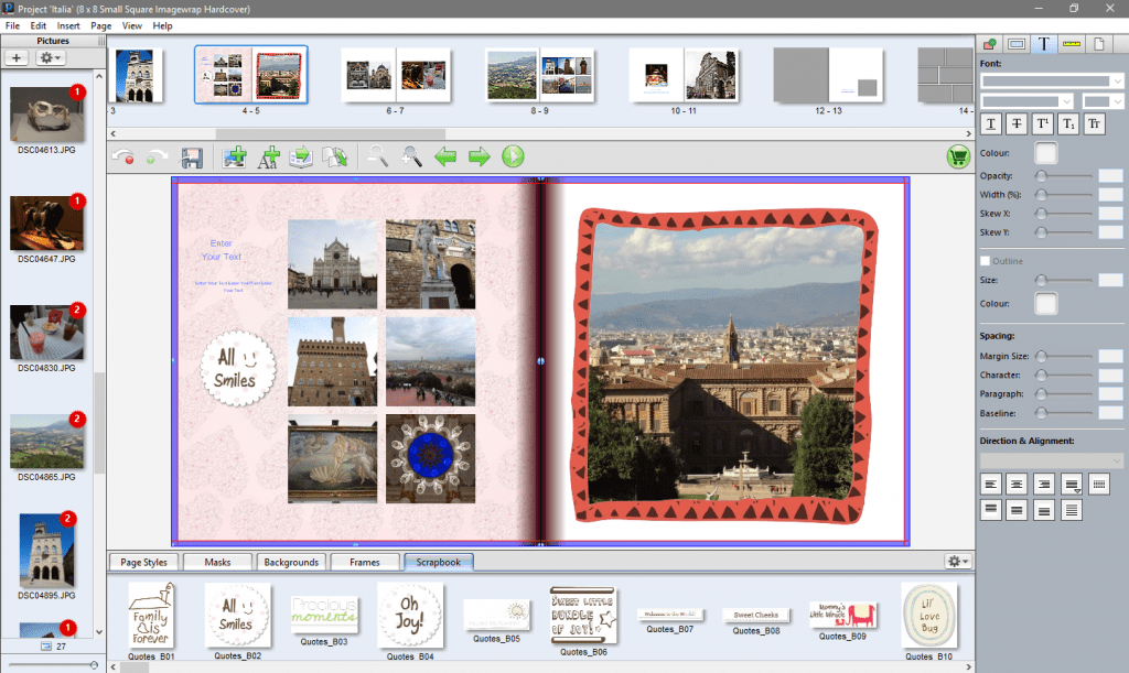 Stickers and frames in the software