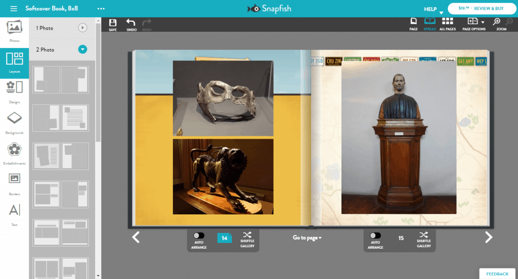 The available layouts in Snapfish